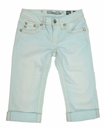 Miss Me Soft & Springy Seafoam Denim Capri