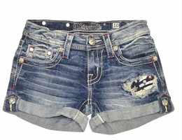 "Miss Me ""Stars & Stripes"" Pocket Denim Shorts<br>Sizes 7-14"
