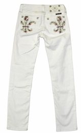Miss Me White Fleur De Lis Flower Power Skinny Jeans *FINAL SALE*