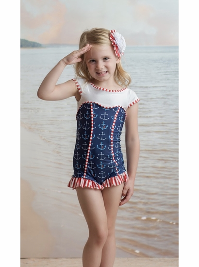 "Muddy Feet ""Anchors Away"" Sweetheart Short Sleeve Swimsuit *PREORDER*"