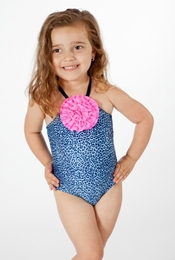 Love U Lots Blue Leopard One Piece-UPF 50+!<br>Sizes 4 - 12/14