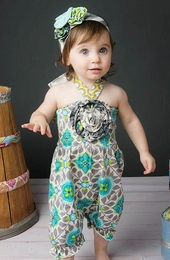 "Mustard Pie Amazing Aqua ""Fiona"" Baby Romper *NEW STYLE*<br>Sizes 3M - 12M"