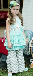 "Mustard Pie Aqua & Grey Chevron ""Mia"" Dress/Top *NEW STYLE*<br>Sizes 2T & 4 LEFT!!"