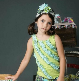"Mustard Pie Aqua Mint ""Rowan"" Ruffled Tank<br>Sizes 2T - 12"