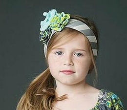 "Mustard Pie Beautiful Grey Chevron ""Alice"" Head Wrap w/Flowerettes<br>Sizes XS - Large"