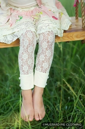 "Mustard Pie Beautiful Ivory Lace ""Georgia"" Leggings<br>Sizes 2T & 10"