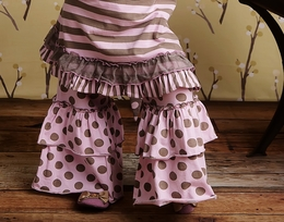 """Mustard Pie """"Bella"""" Double Bell Pink and Sage Dot Pants *FINAL SALE*-SOLD OUT!"""