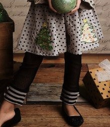 "Mustard Pie ""Emerson"" Holiday Sage and Black Dot Skirt *FINAL SALE*"