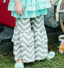 "Mustard Pie Grey Chevron ""Bella"" Double Bell Pants<br>Sizes 3T - 6"