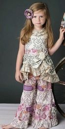"Mustard Pie Grey Damask ""Flora"" Cinched Tunic<br>Sizes 2T - 10"