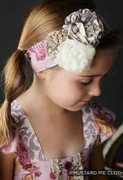 "Mustard Pie Lavender ""Alice"" Head Wrap w/Flowerettes<br>Sizes XS - Large"