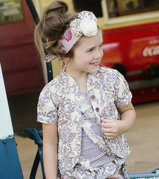 "Mustard Pie Lavender Damask ""Alice"" Jacket<br>Sizes 3T - 12"