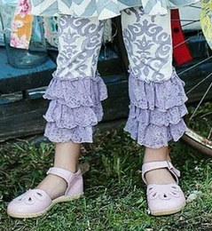 "Mustard Pie Lavender Damask ""Tango"" Legging<br>Sizes 2T - 12"