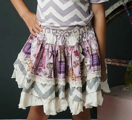 "Mustard Pie Lavender ""Ella"" Mixed Print Skirt"