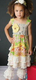 "Mustard Pie Linen Pop Mint ""Isabella"" Gorgeous Bustle Dress<br>Sizes 3T - 10"