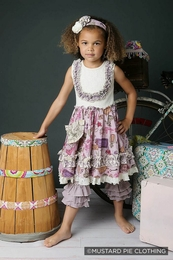"Mustard Pie Lovely Lavender ""Gwendolyn"" Twirl Bib Dress *NEW STYLE*<br>Sizes 3T - 12"