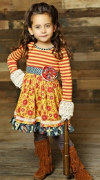 "Mustard Pie Mustard Crimson ""Clover"" Twirl Dress<br>  *PREORDER*"