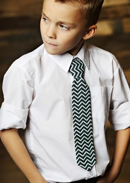 Mustard Pie Navy Chevron Boys Neck Tie<br>Sizes Small - Large *PREORDER*