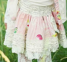 "Mustard Pie Petal Pink & Script Print ""Ella"" Twirling Skirt<br>Sizes 2T - 12"