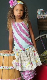 "Mustard Pie Pop Pink Aqua ""Rowan"" Tank<br>Sizes 3T - 12"