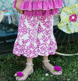 "Mustard Pie Pretty Pop Pink Damask ""Bella"" Pants<br>Sizes 2T - 12"