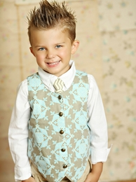 Mustard Pie Sage Blue Geo Boys Vest SOLD OUT!