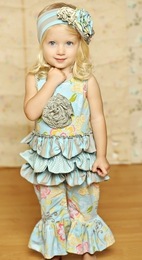 "Mustard Pie Spa Blue ""Emma"" Ruffled Baby Romper SOLD OUT!"