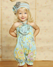 "Mustard Pie Spa Blue ""Fiona"" Rosette Baby Romper SOLD OUT!"