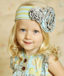 "Mustard Pie Striped Spa Blue ""Flora"" Head Band SOLD OUT!"