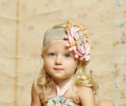 "Mustard Pie Sunny Sweet Pink ""Colette"" Lace Headband"