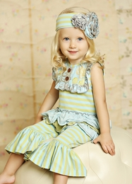 "Mustard Pie Sweet Pea Blue ""Emma"" Baby Romper SOLD OUT!"