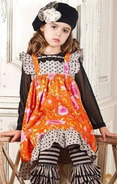 """Mustard Pie """"Tangerine"""" Black Holiday Holly Dress *FINAL SALE*-SOLD OUT!"""