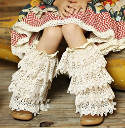 Mustard Pie Vanilla Crochet Ankle Flairs<br>Sizes Small - Large *PREORDER*