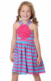 "One Posh Kid ""Ashli"" Rosette Stripe Dress<br>Sizes Size 12M - 7"