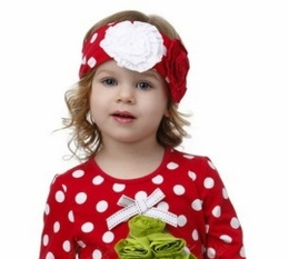 "One Posh Kid ""Falliday"" Red Dotted Headband"