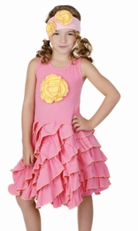 One Posh Kid Paper Dolls Pink Ruffle Dress w/Yellow Rosette