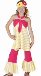 One Posh Kid Raspberry Bow Swing Top & Bell Pant Two Piece Set