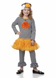 One Posh Kid Rosette Pumpkin Applique Two Piece Dress Set