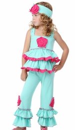 "One Posh Kid ""Savanna"" Mint Fuschia Two Piece Set<br>Sizes Size 12M - 6"