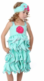 "One Posh Kid ""Savanna"" Mint Rosette Cascading Dress<br>Sizes Size 3T - 7"