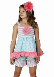 One Posh Kid Spring Bloom Blue & Pink Two Piece Set