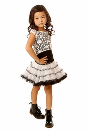 Ooh La La Black and White with Rose Lace Overlay Poufy Dress