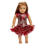 Ooh La La Couture 18 Inch Doll Red Bows Sequin Wiretrim Poufier Dress