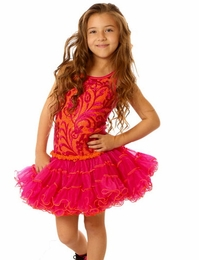 Ooh La La Couture Beautiful Hot Pink & Neon Orange Wiretrim Tank Poufier Dress