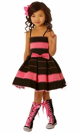 Ooh La La Couture Black & Candy Pink Stripe Kelli Dress SOLD OUT!