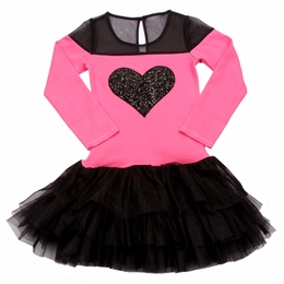Ooh La La Couture Black & Candy Pink Tulle Shoulder Heart Party Dress