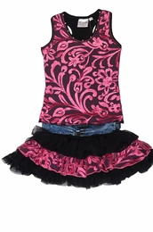 Ooh La La Couture Black & Candy Pink Two Piece Denim Skirt Set <br>Sizes 4 - 14