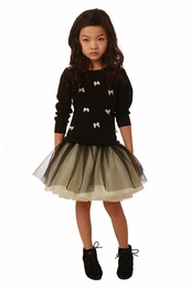 Ooh La La Couture Black & Champagne Little Bow Dress