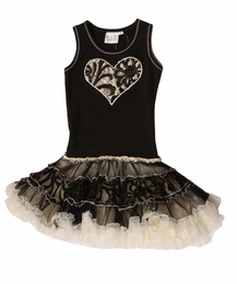 Ooh La La Couture Black Embroidered Tulle Heart Poufier Tank Dress<BR>Sizes 4 - 14