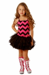 Ooh La La Couture Black & Pink Chevron Ruffle Tutu Dress<br>Sizes 4 - 12